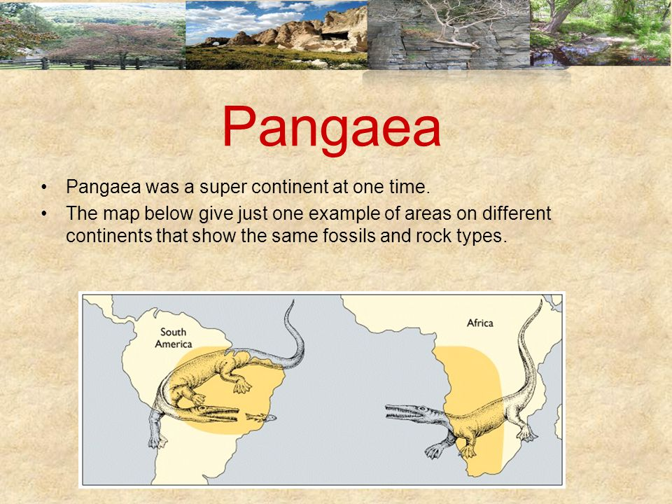 Pangaea Pangaea was a super continent at one time.
