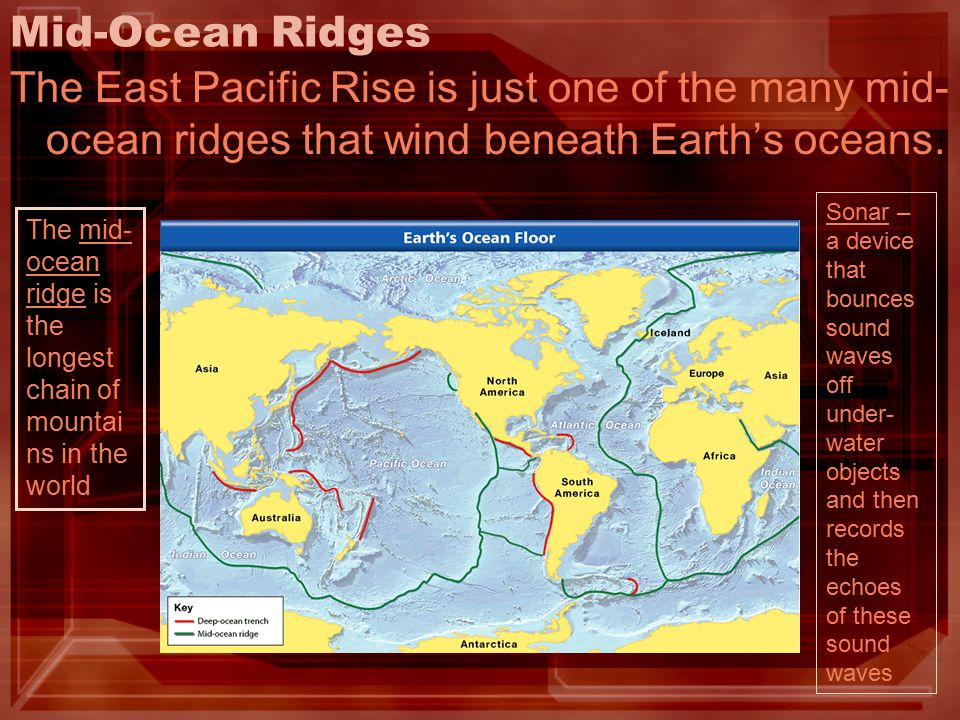Mid-Ocean Ridges The East Pacific Rise is just one of the many mid-ocean ridges that wind beneath Earth's oceans.