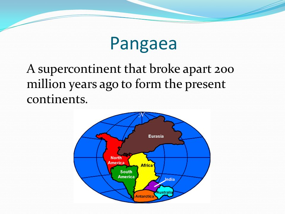 Pangaea A supercontinent that broke apart 200 million years ago to form the present continents.