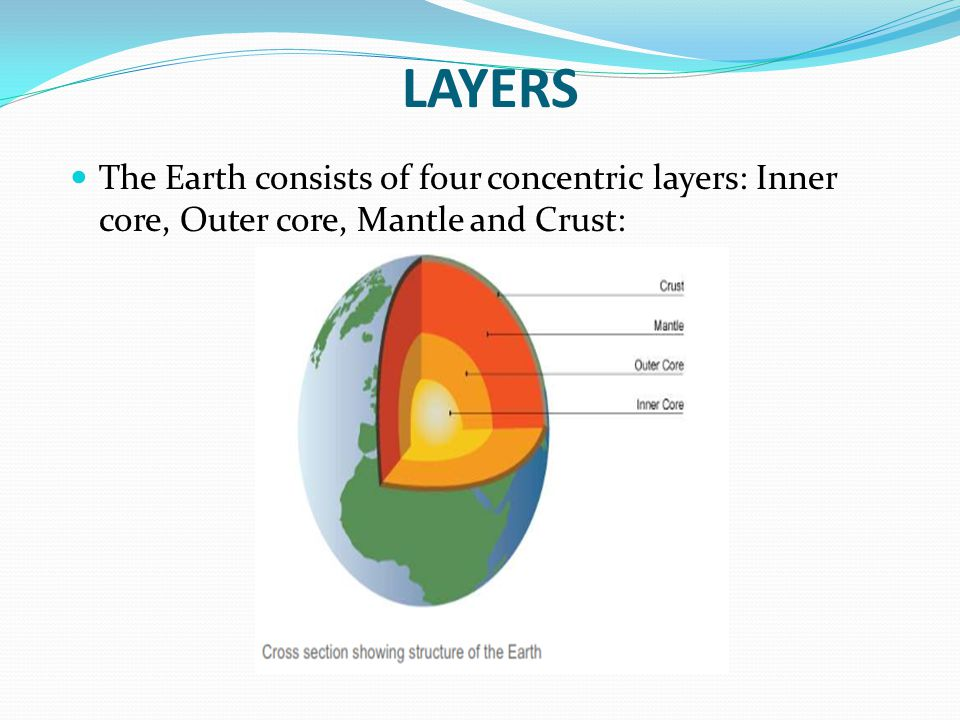 LAYERS The Earth consists of four concentric layers: Inner core, Outer core, Mantle and Crust: