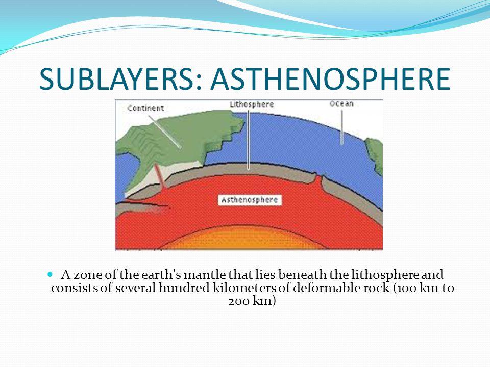 SUBLAYERS: ASTHENOSPHERE