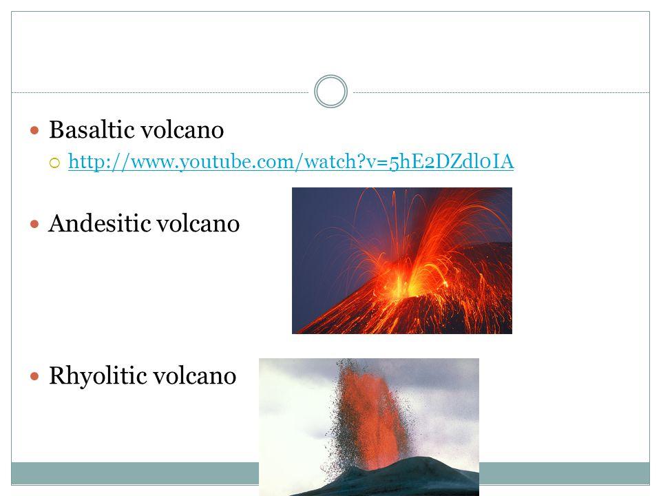 Basaltic volcano Andesitic volcano Rhyolitic volcano