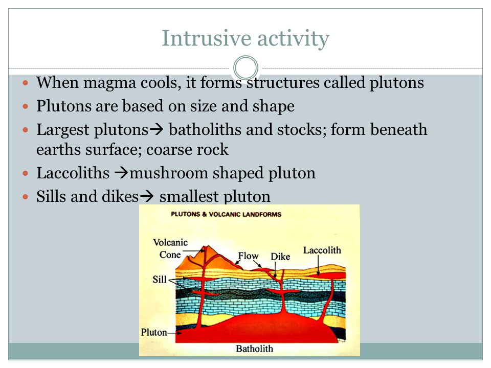 Intrusive activity When magma cools, it forms structures called plutons. Plutons are based on size and shape.