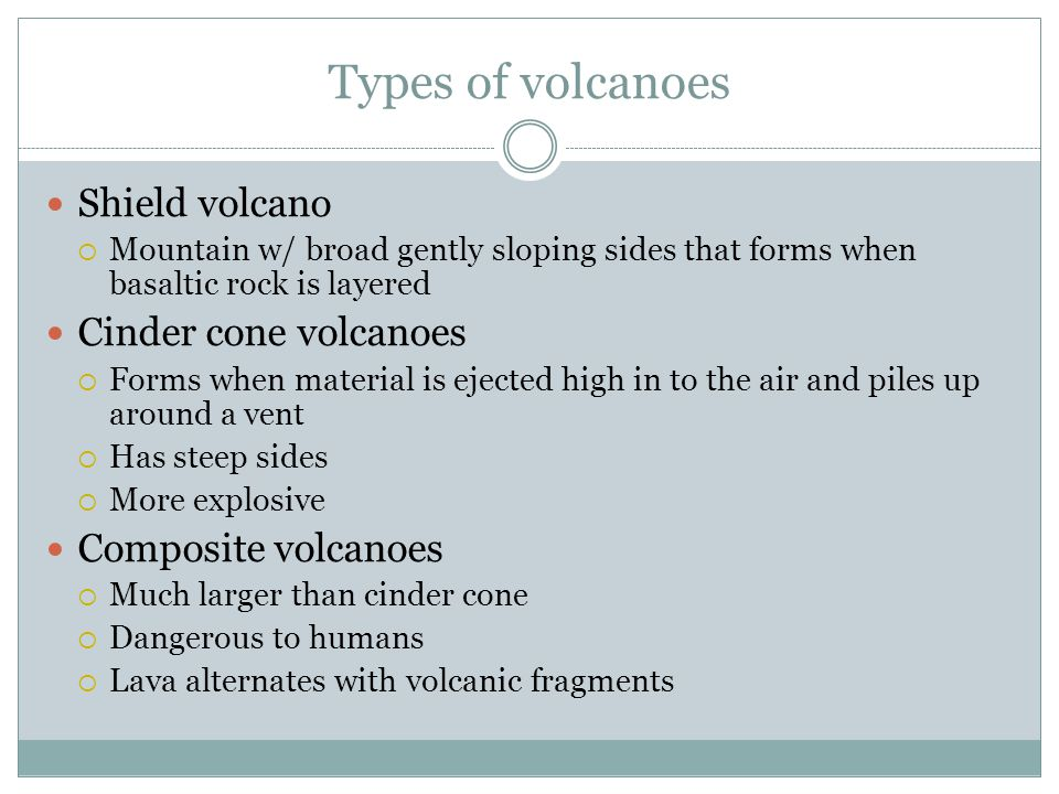Types of volcanoes Shield volcano Cinder cone volcanoes