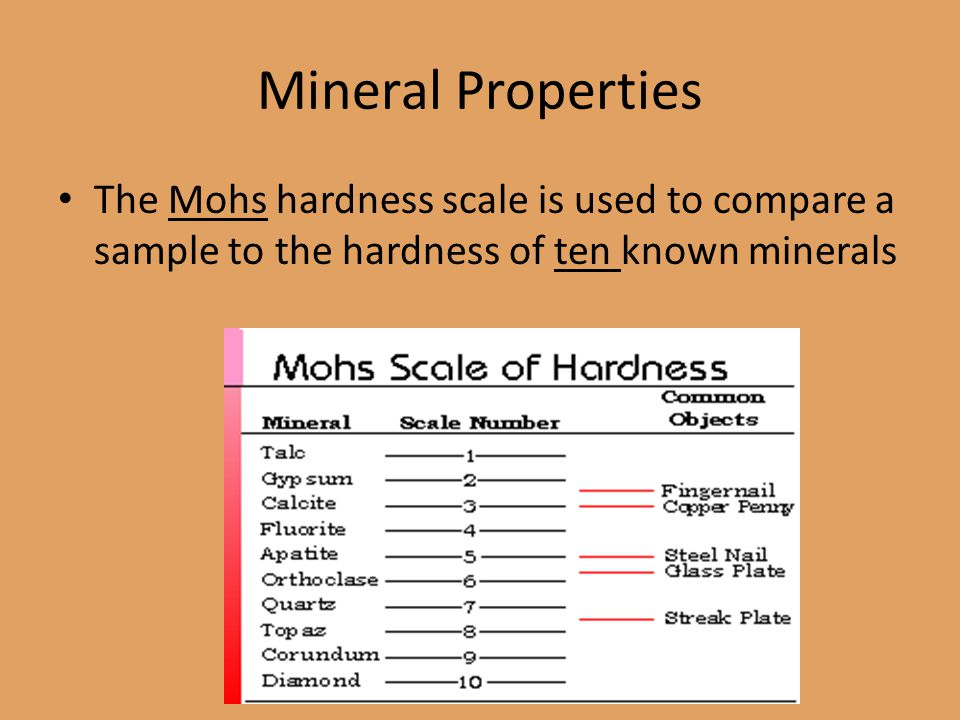 Mineral Properties The Mohs hardness scale is used to compare a sample to the hardness of ten known minerals.
