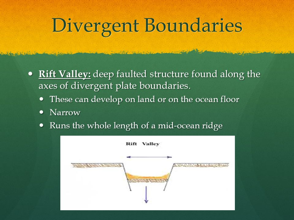 Divergent Boundaries Rift Valley: deep faulted structure found along the axes of divergent plate boundaries.
