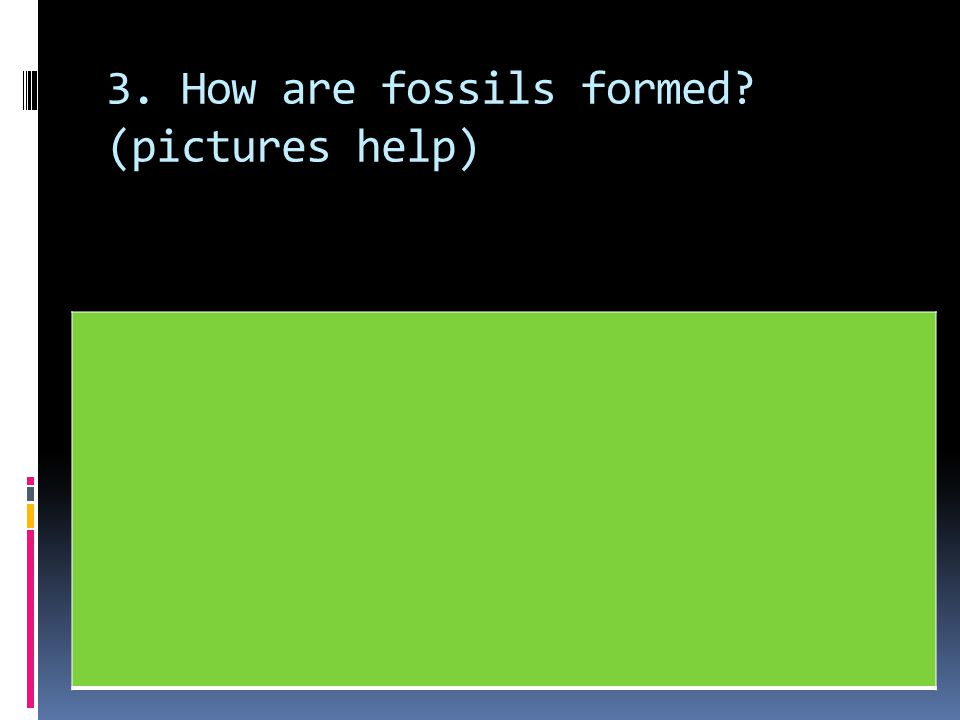 3. How are fossils formed (pictures help)