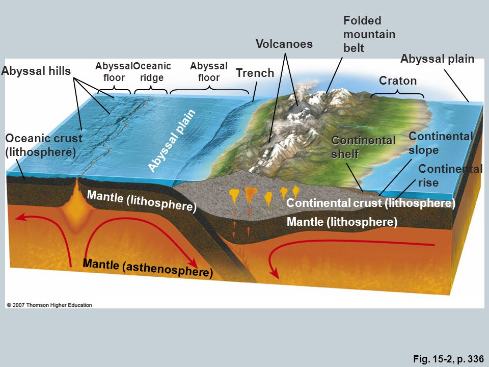 Oceanic crust (lithosphere) Abyssal plain Continental slope