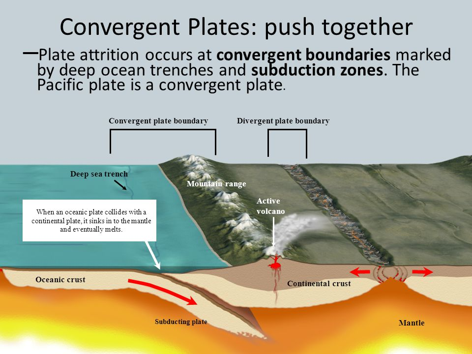Convergent Plates: push together