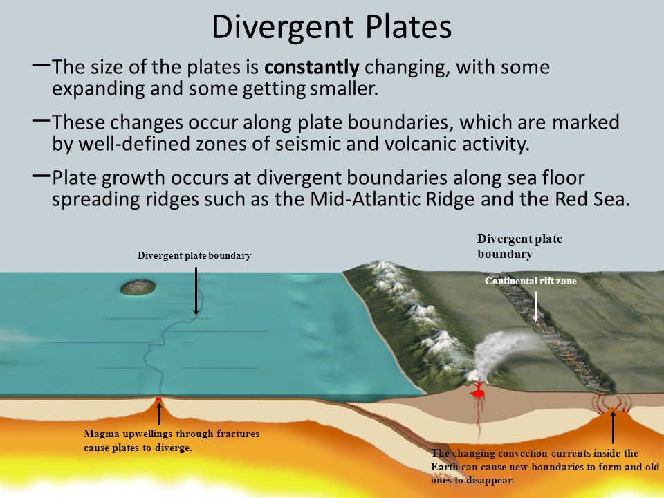 Divergent Plates The size of the plates is constantly changing, with some expanding and some getting smaller.