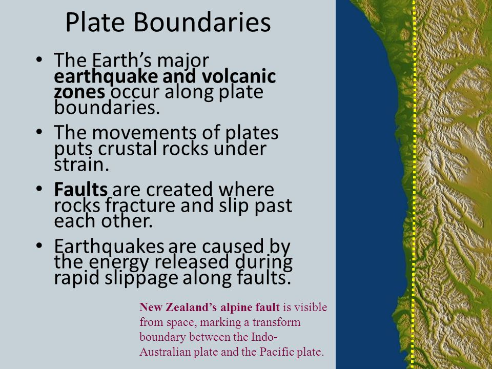 Plate Boundaries The Earth's major earthquake and volcanic zones occur along plate boundaries.
