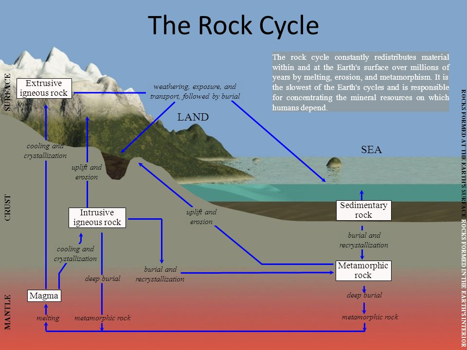 The Rock Cycle LAND SEA Extrusive igneous rock Sedimentary rock