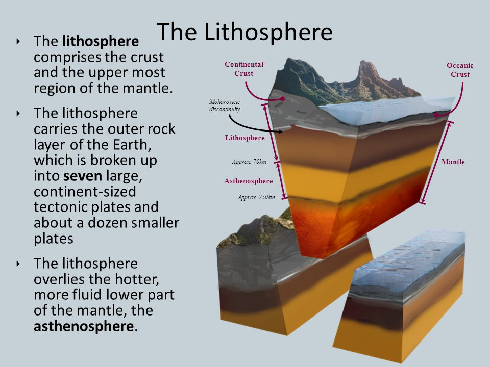 The Lithosphere The lithosphere comprises the crust and the upper most region of the mantle.