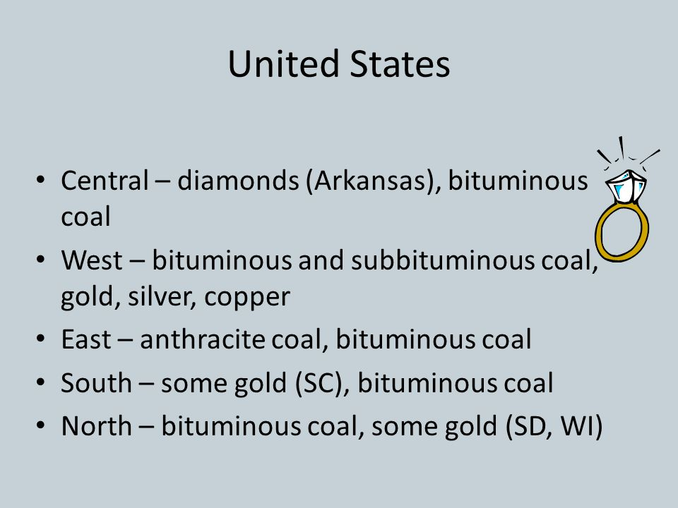 United States Central – diamonds (Arkansas), bituminous coal