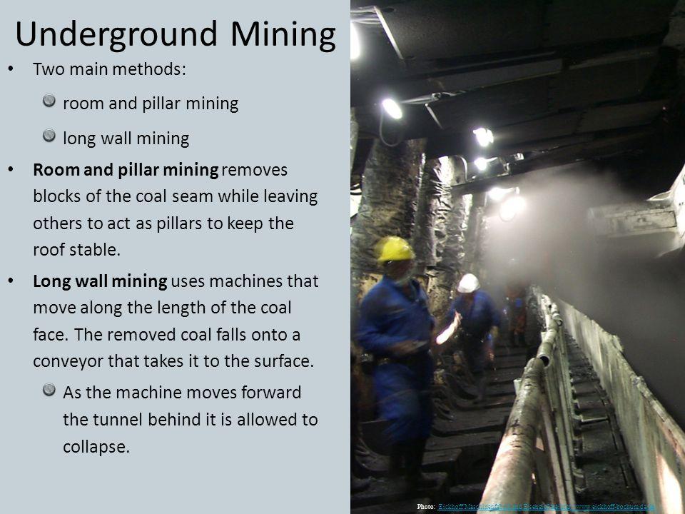 Underground Mining Two main methods: room and pillar mining