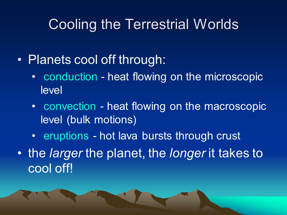 Cooling the Terrestrial Worlds