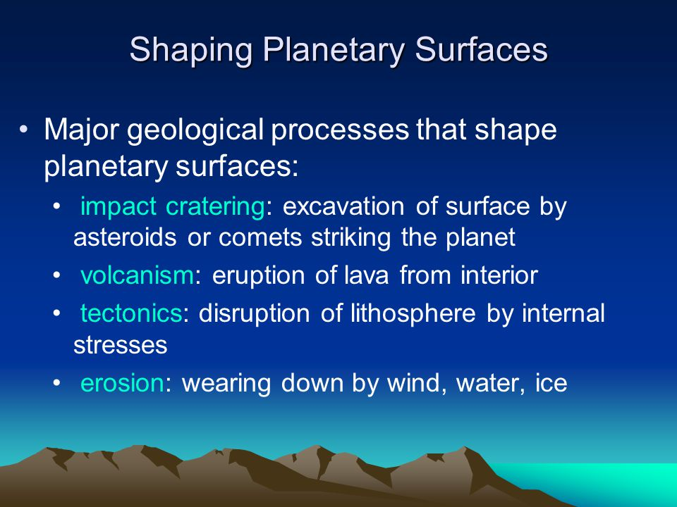 Shaping Planetary Surfaces