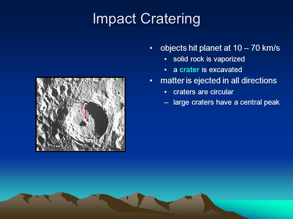 Impact Cratering objects hit planet at 10 – 70 km/s