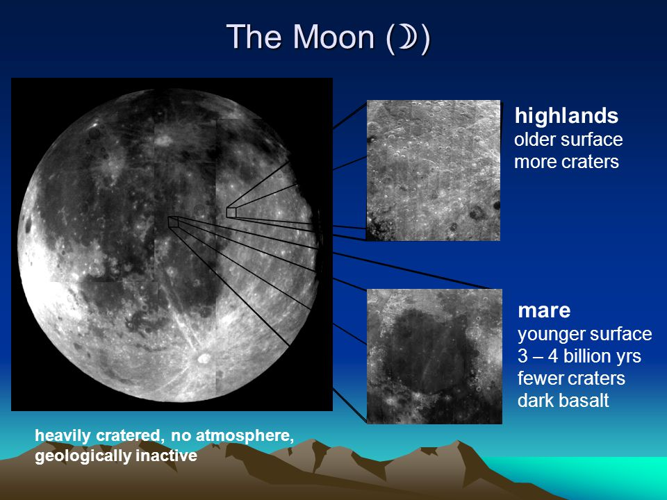 The Moon () highlands mare older surface more craters younger surface