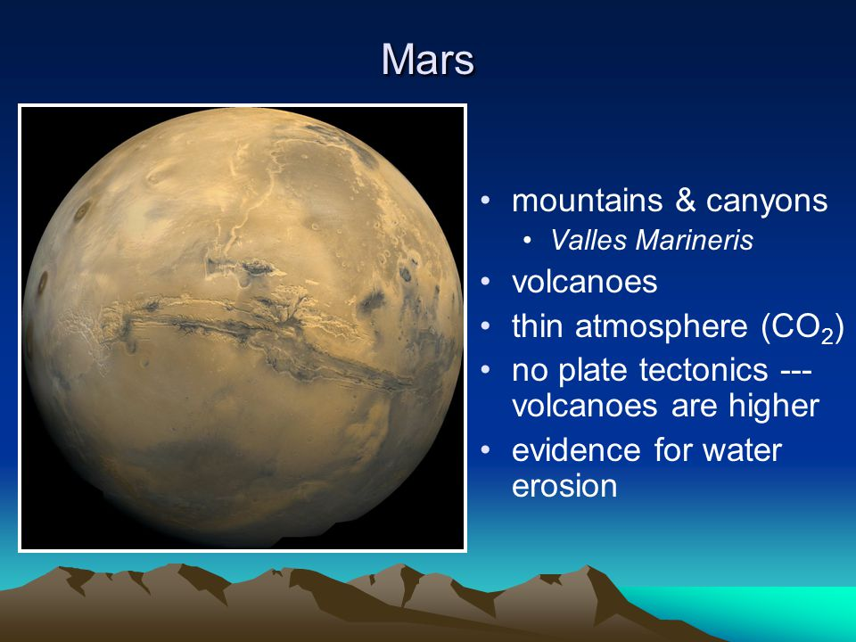 Mars mountains & canyons volcanoes thin atmosphere (CO2)