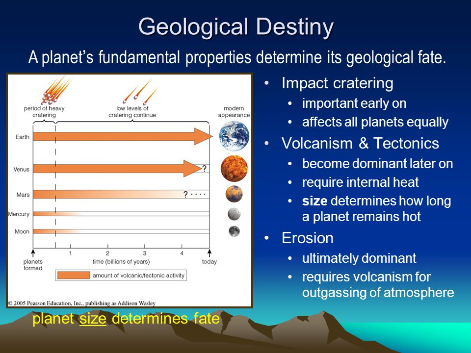 Geological Destiny A planet's fundamental properties determine its geological fate. Impact cratering.