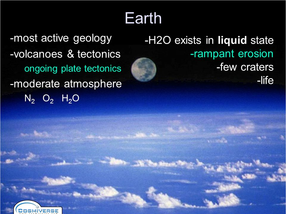 Earth -most active geology -H2O exists in liquid state