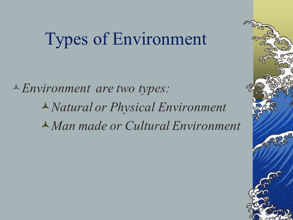 Types of Environment Environment are two types: