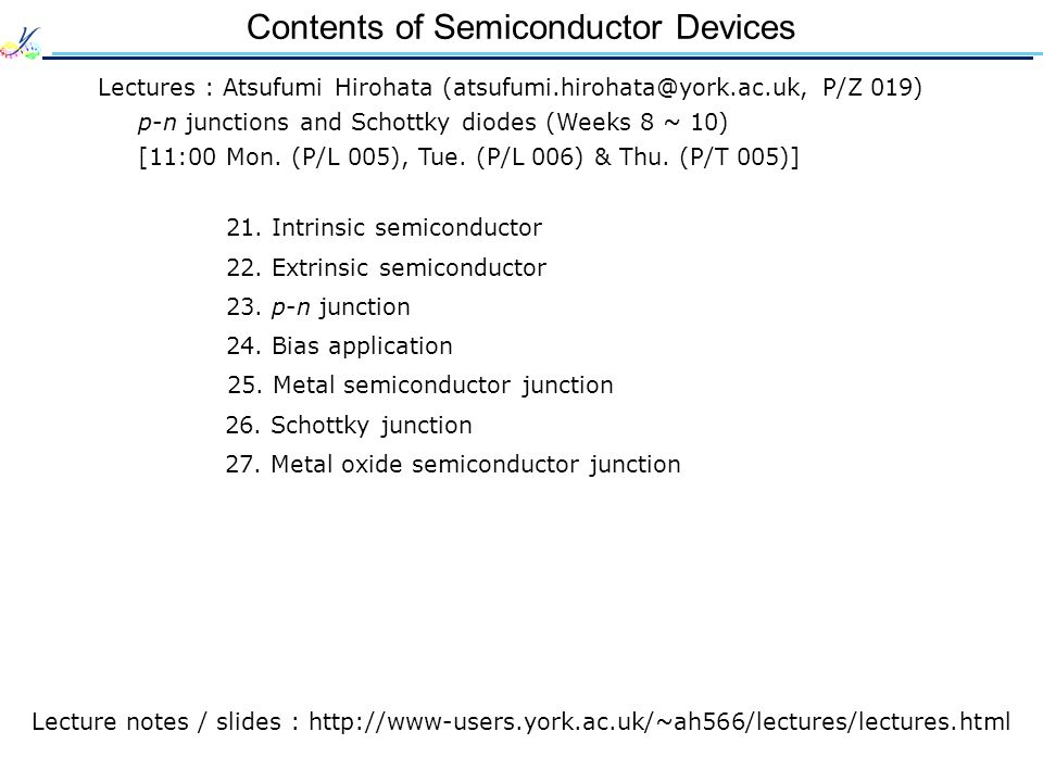Contents of Semiconductor Devices
