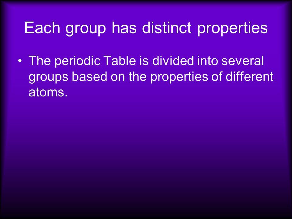 Each group has distinct properties