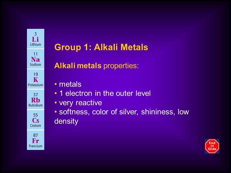 Group 1: Alkali Metals Alkali metals properties: metals