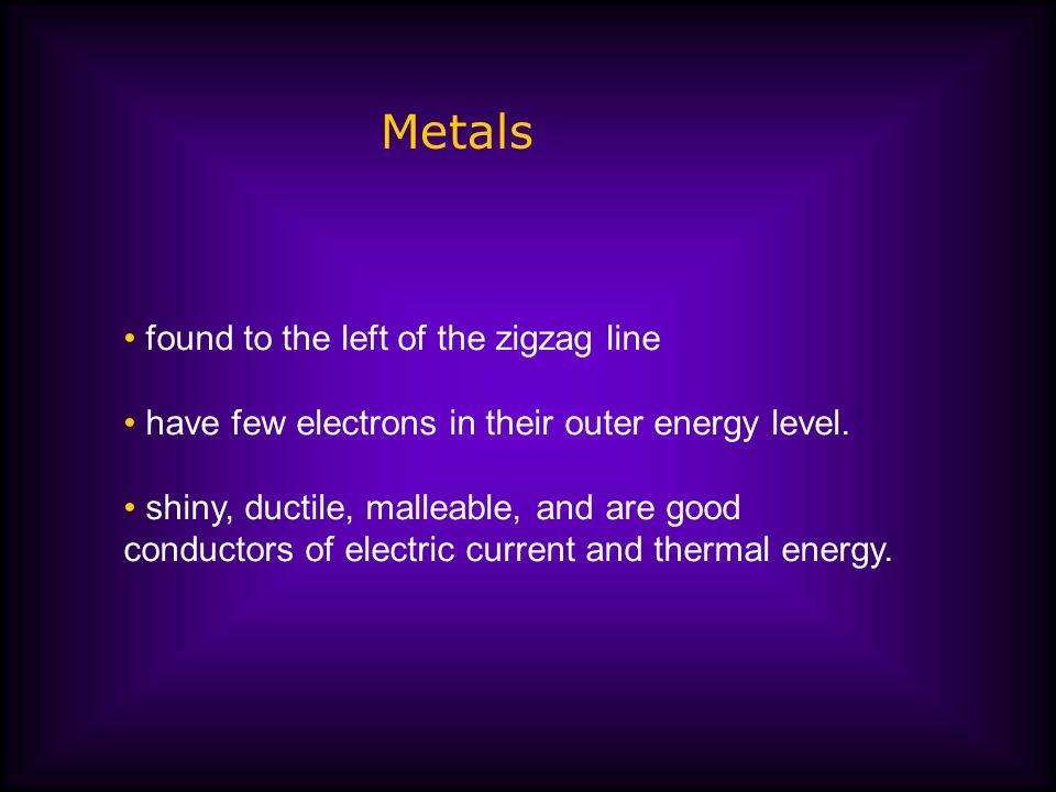 Metals found to the left of the zigzag line