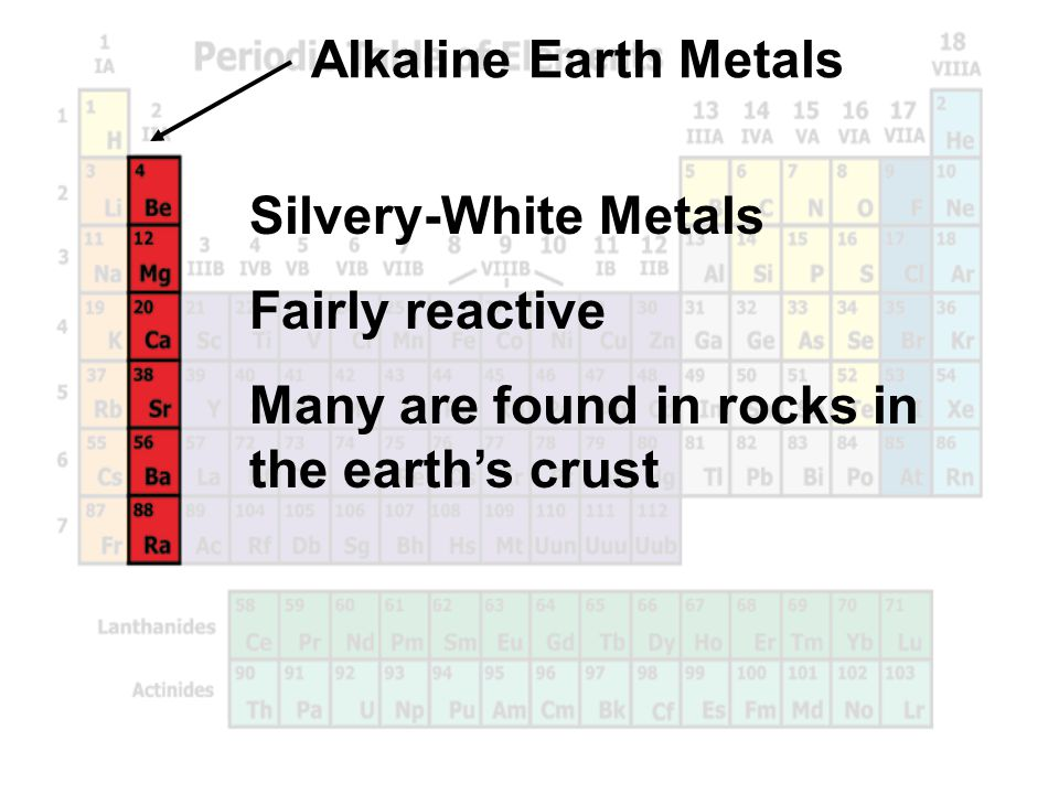 Alkaline Earth Metals Silvery-White Metals. Fairly reactive.