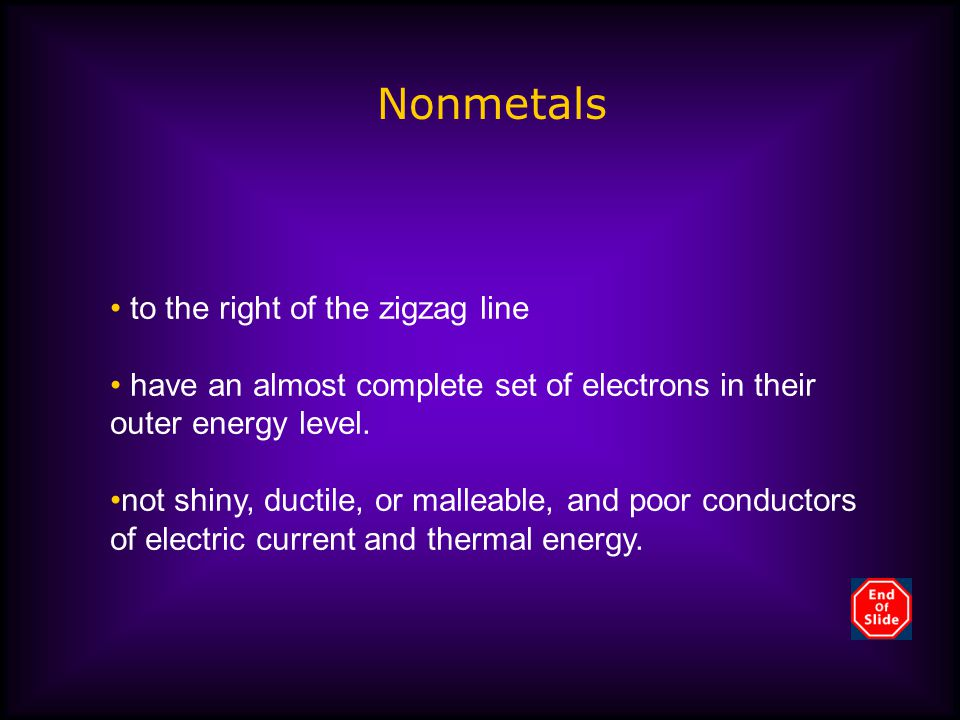 Nonmetals to the right of the zigzag line