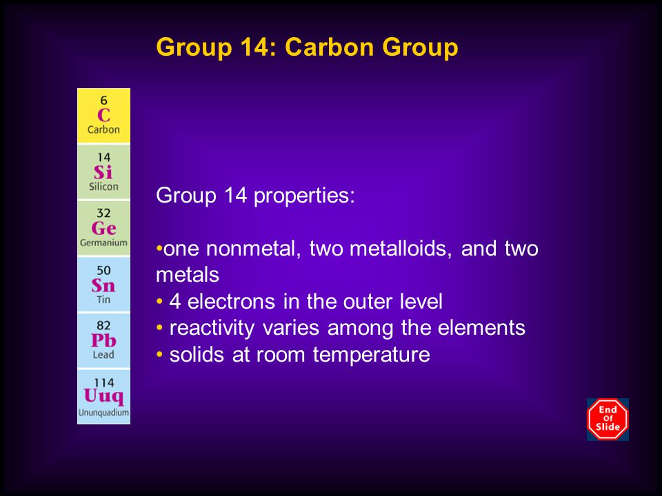 Group 14: Carbon Group Group 14 properties: