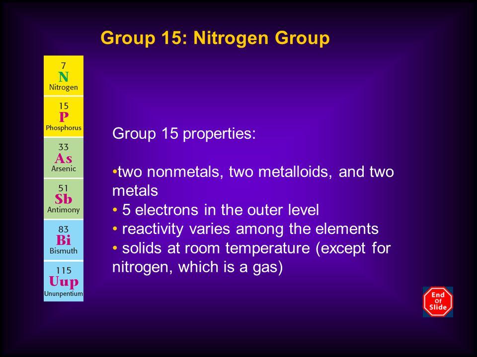Group 15: Nitrogen Group Group 15 properties: