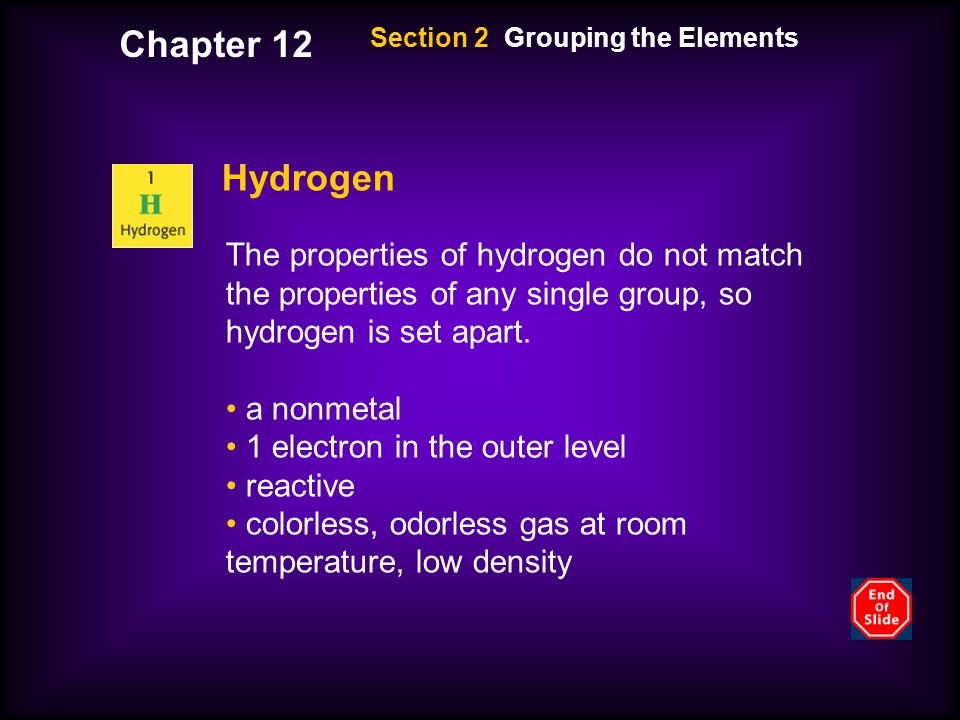 Chapter 12 Section 2 Grouping the Elements. Hydrogen.