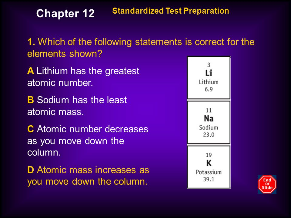 Chapter 12 Standardized Test Preparation. 1. Which of the following statements is correct for the elements shown