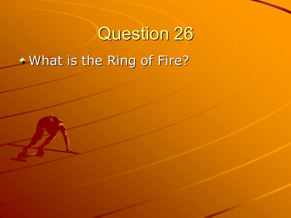 Question 26 What is the Ring of Fire