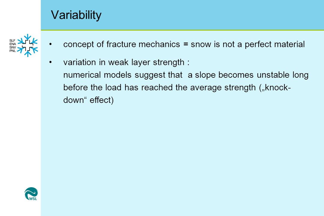 Variability concept of fracture mechanics = snow is not a perfect material.