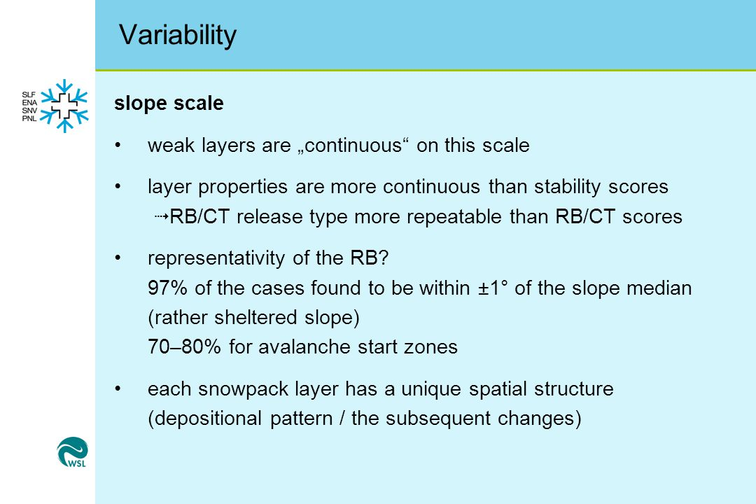 "Variability slope scale weak layers are ""continuous on this scale"