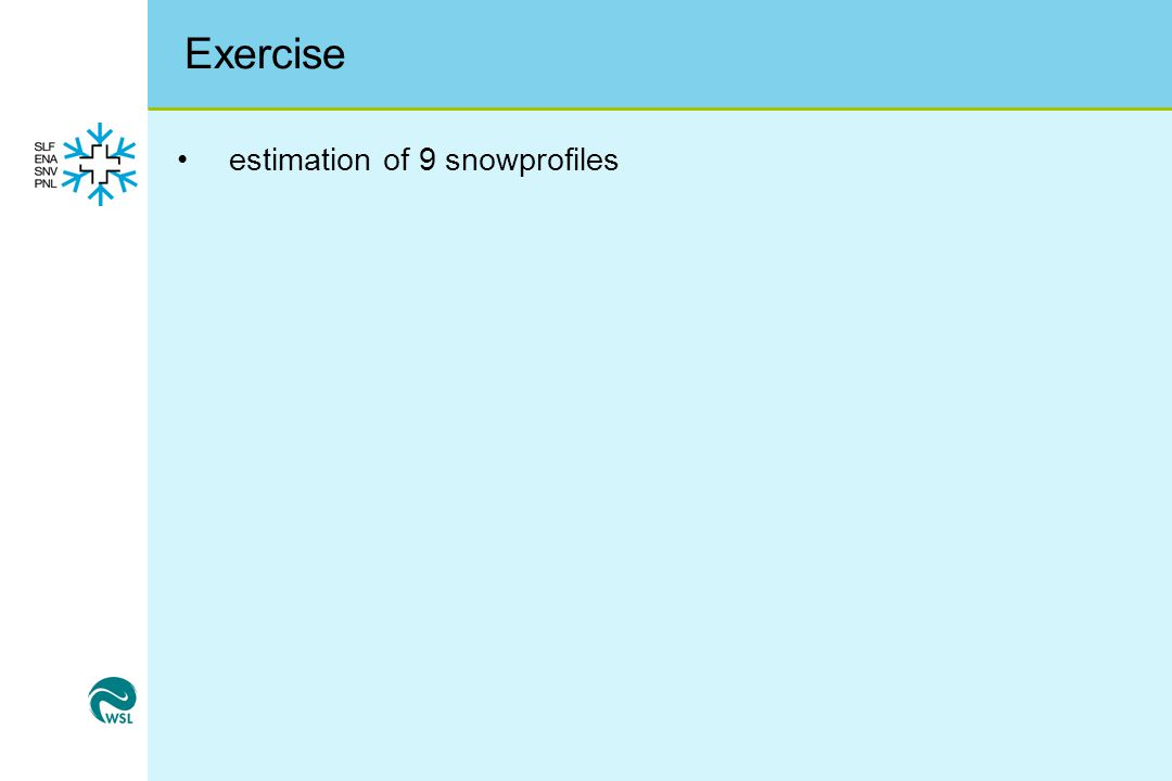 Exercise estimation of 9 snowprofiles