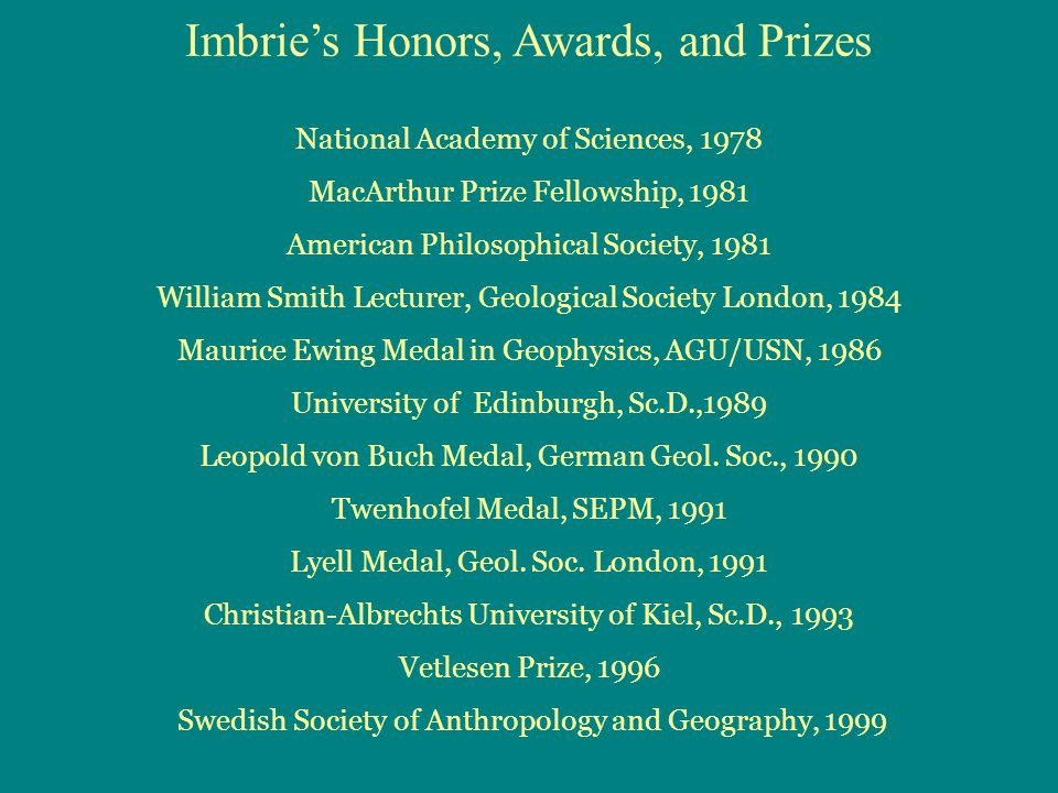 Imbrie's Honors, Awards, and Prizes