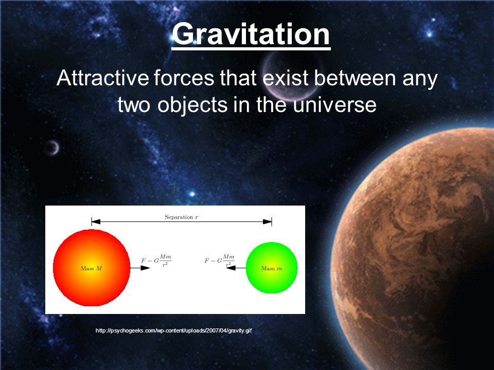 Attractive forces that exist between any two objects in the universe