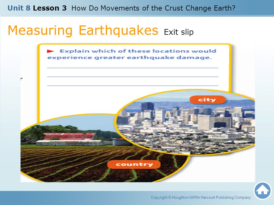 Measuring Earthquakes Exit slip