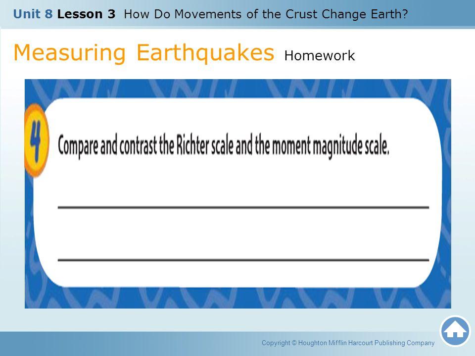 Measuring Earthquakes Homework