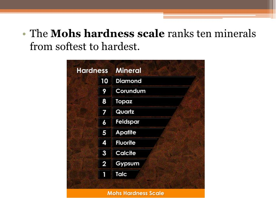The Mohs hardness scale ranks ten minerals from softest to hardest.