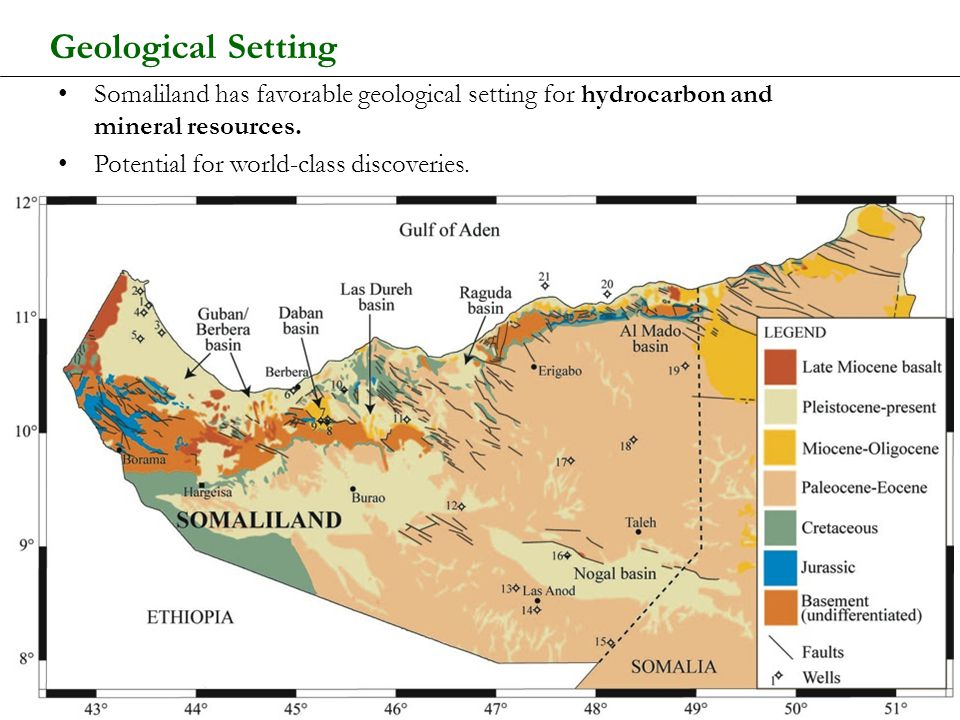 Geological Setting Somaliland has favorable geological setting for hydrocarbon and mineral resources.