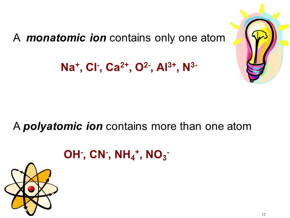 A monatomic ion contains only one atom