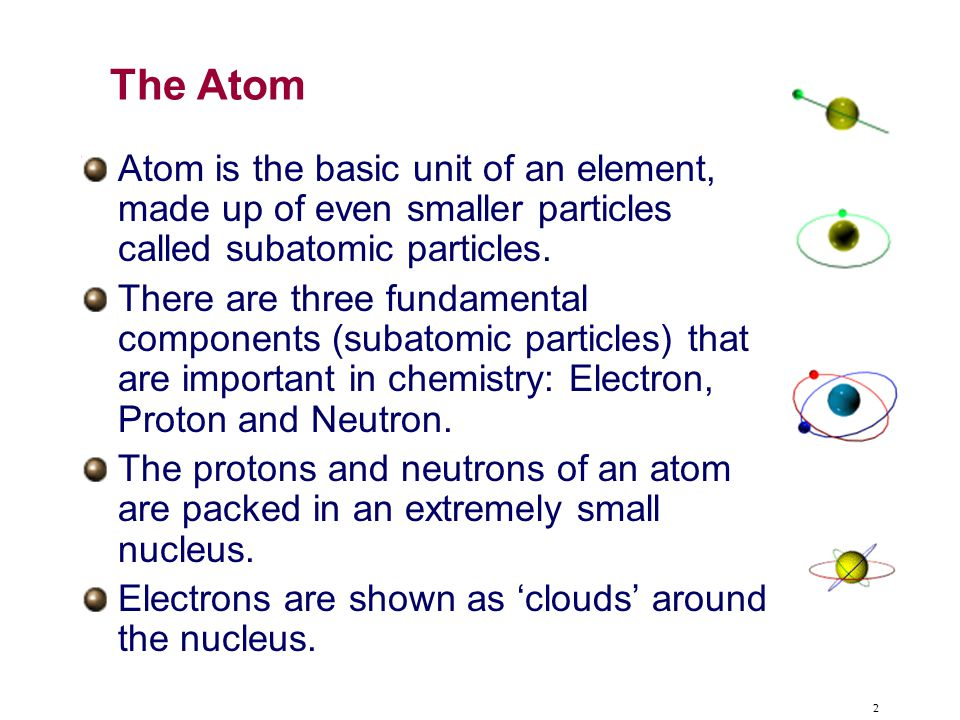 The Atom Atom is the basic unit of an element, made up of even smaller particles called subatomic particles.