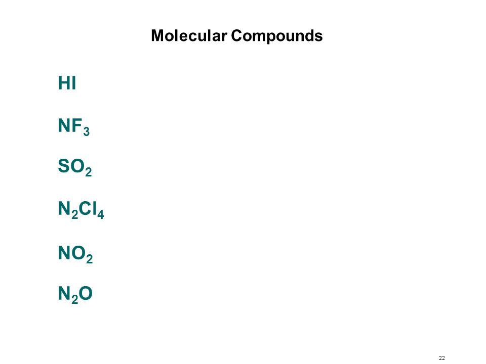 Molecular Compounds HI NF3 SO2 N2Cl4 NO2 N2O